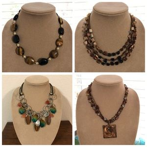 Lot of 4 chunky earth tone necklaces